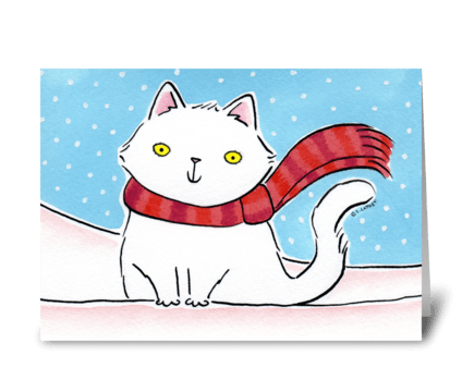 Christmas Kitty Cat in the Snow greeting card