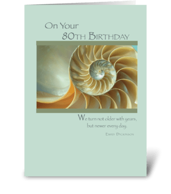 80th Birthday Spiral Shell greeting card