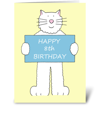 Happy 8th birthday cute white cat. greeting card