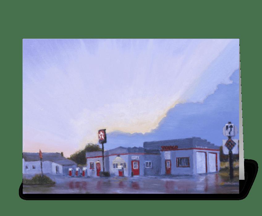The Texaco in Potter, Nebraska greeting card