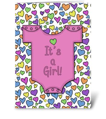It's a Girl-Pink Outfit Heart Collage greeting card