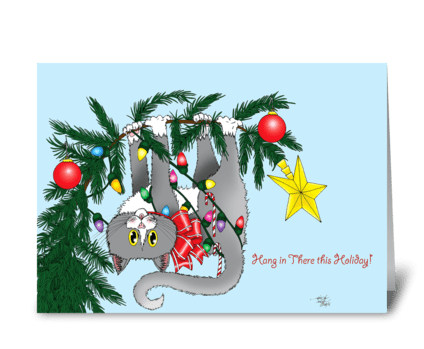 Christmas Tree Cat greeting card