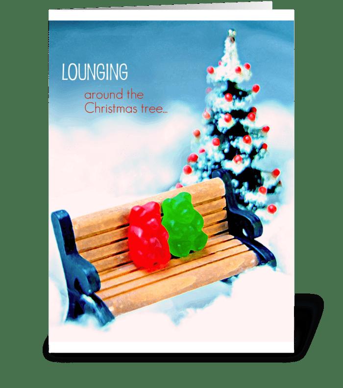Lounging Around the Christmas Tree greeting card