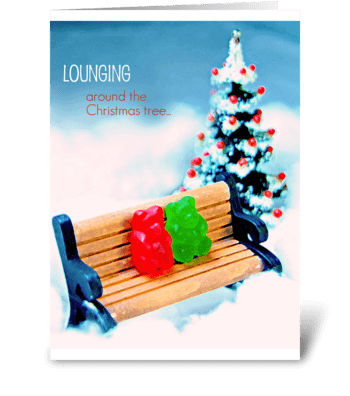 Lounging Around the Christmas Tree greeting card