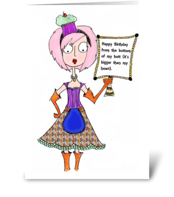Birthday Bottom greeting card