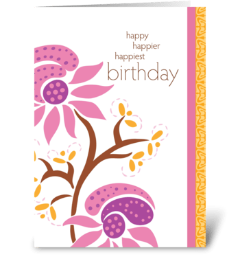 happy happier happiest birthday greeting card