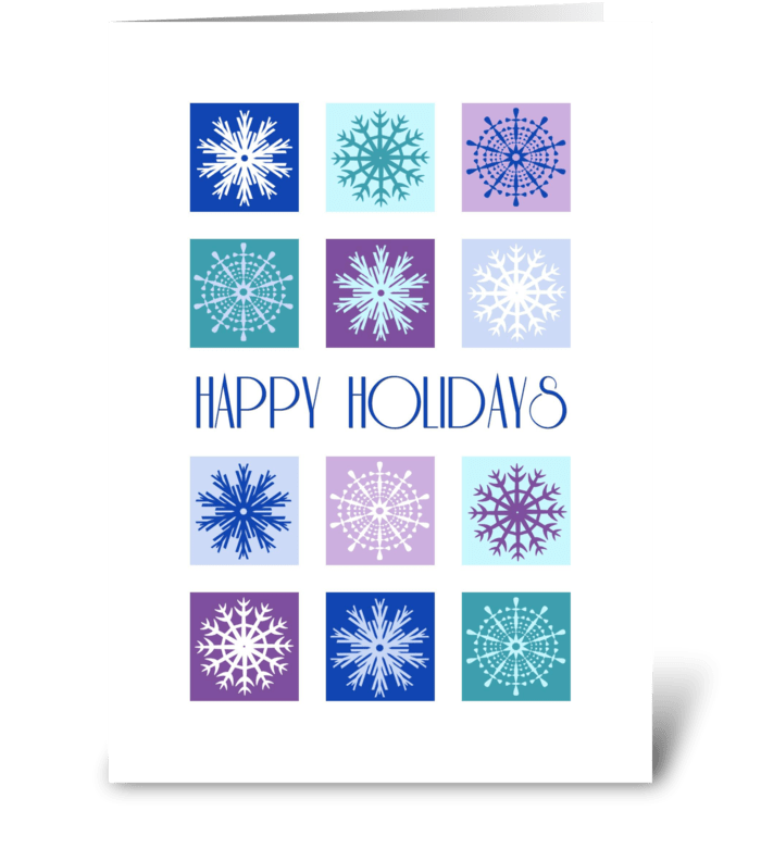 Modern Snowflakes Happy Holidays greeting card