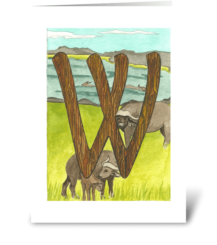 W for Water Buffalo greeting card