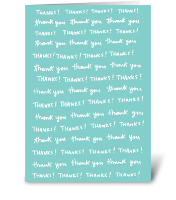 Thank You Thank You Thank You greeting card