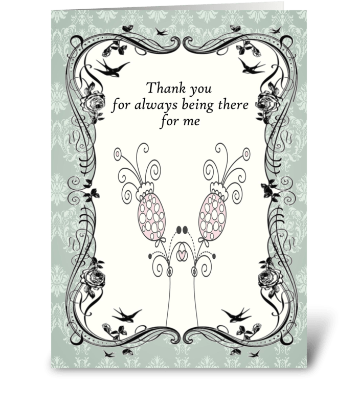 Vintage Aqua Flower Thank You Card greeting card