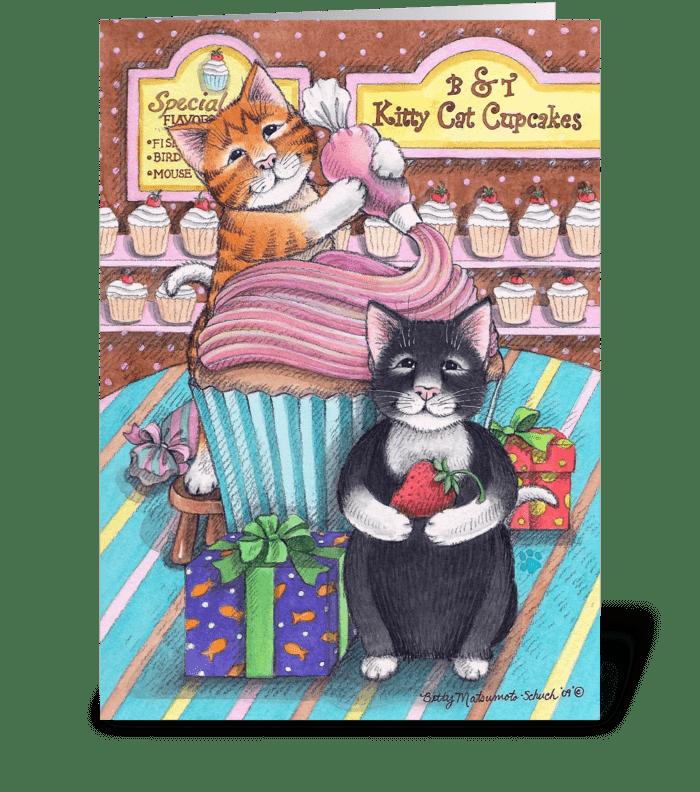Cupcake Cats Happy Birthday #59 greeting card