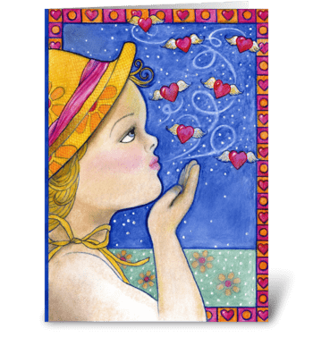 Missing You Blowing Kisses greeting card