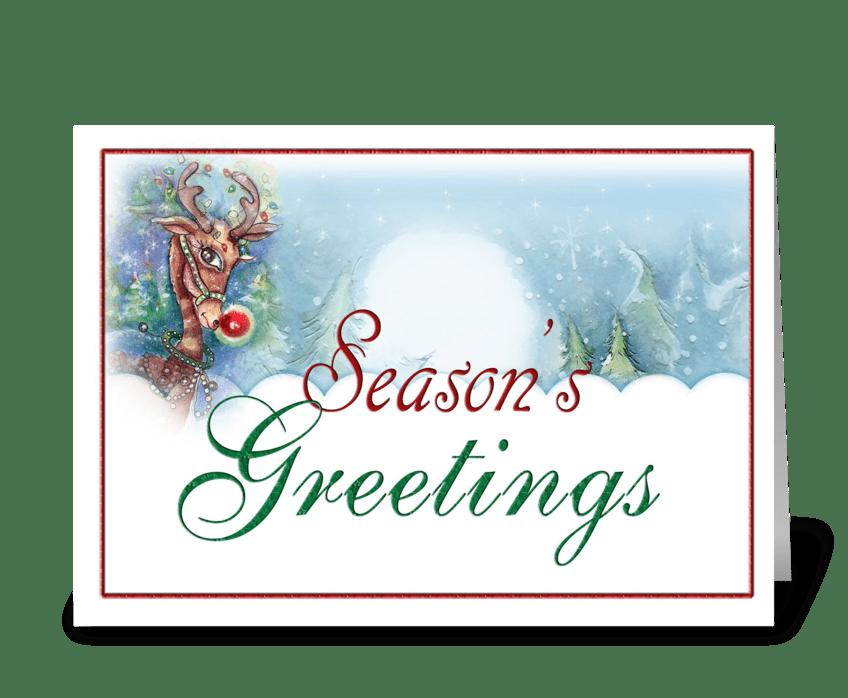 seasons greetings reindeer greeting card - Seasons Greetings Cards