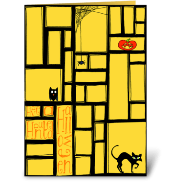 Haunted Halloween Windows greeting card