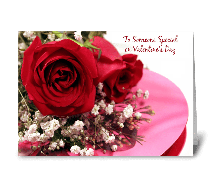 Valentine Red Roses, Candy Box greeting card
