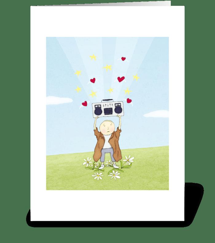 Boombox Love Greeting Card greeting card