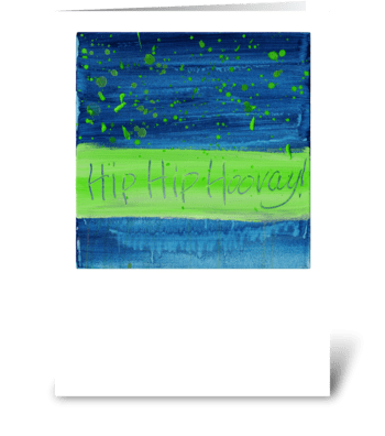 Hip Hip Hooray! - Green on Blue greeting card