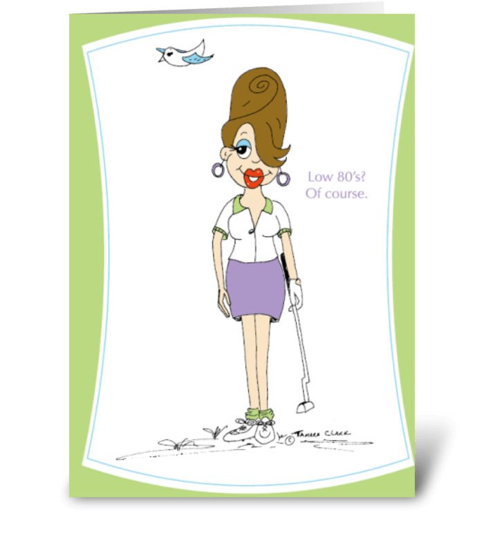 Golfer Gilda greeting card