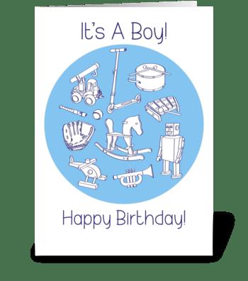 Birthday-it's-a-boy-toys-set2 greeting card