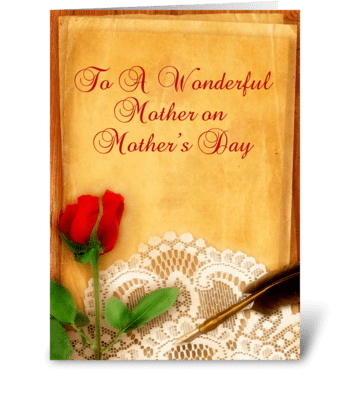 Vintage Lace, Red Rose, Parchment Mother greeting card