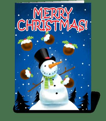 Snowman Juggling greeting card