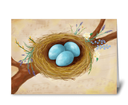 Birds Nest & Flowers greeting card greeting card