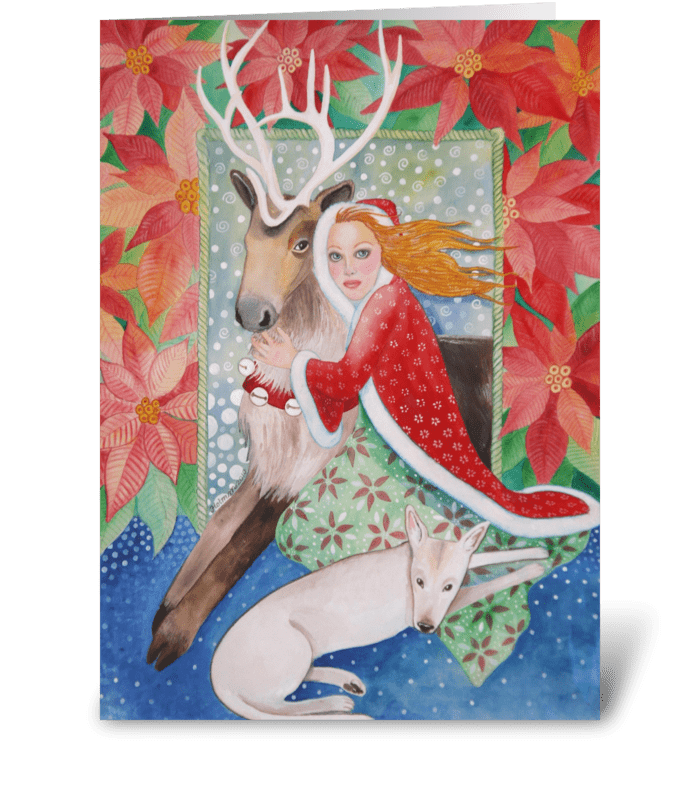 Poinsettias and Reindeer Christmas greeting card