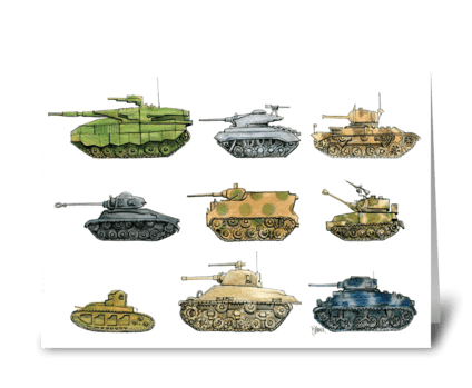 Many Tanks thank you note greeting card