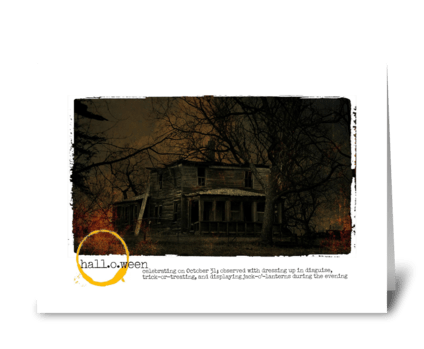 haunted house on hallows eve  greeting card