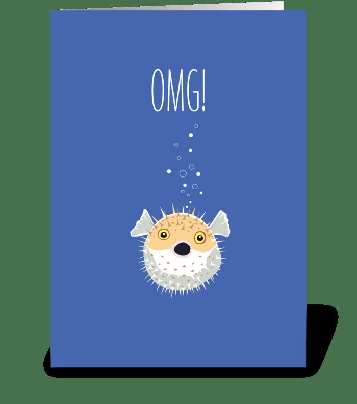 Blowfish greeting card