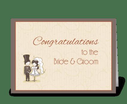 Bride, Groom Stick Couple Congratulation greeting card