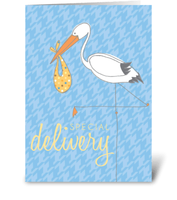 Baby Stork Blue greeting card