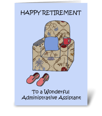 Administrative assistant retirement. greeting card