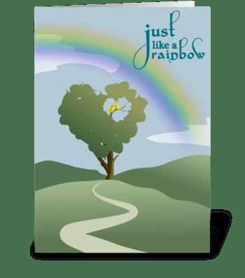 Rainbow and Heart Tree - Anniversary greeting card