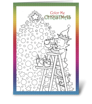 Christmas Coloring Card for Child greeting card