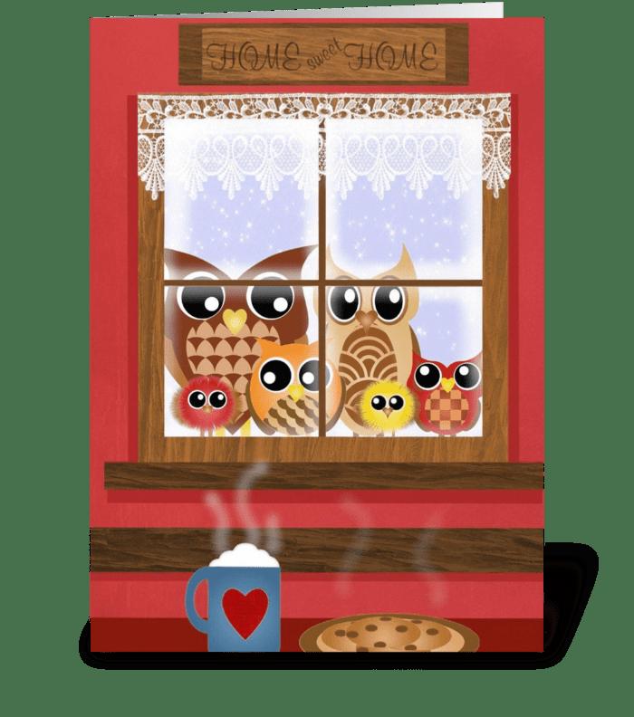 Window Owls  greeting card