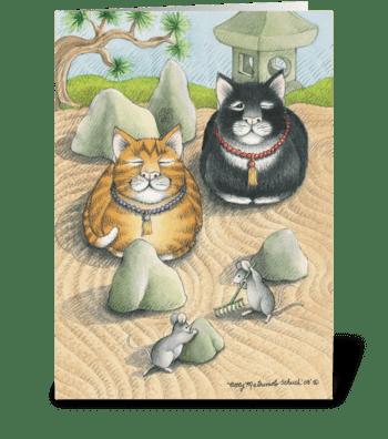 Meditating Cats #45 greeting card