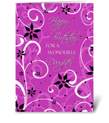 Happy Birthday Daughter Pink Swirls greeting card