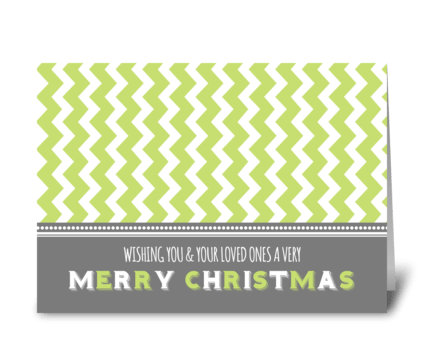 Green Chevrons Merry Christmas greeting card