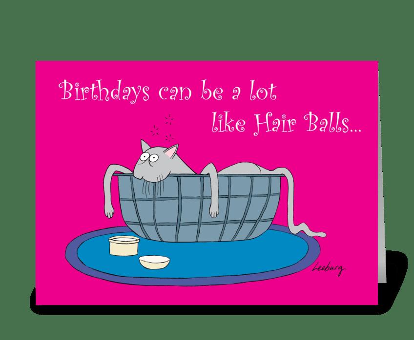 Hair Ball Birthday greeting card