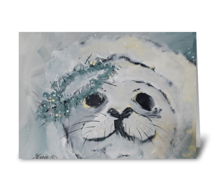 White Seal greeting card