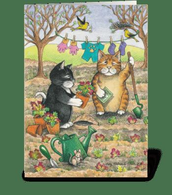Birthday Gardening Cats #15 greeting card