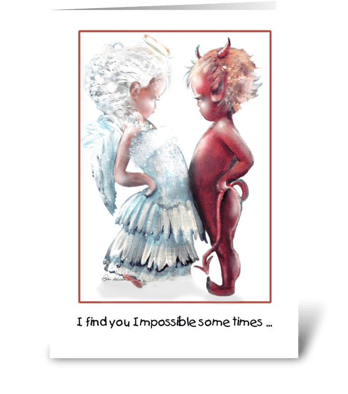 Angel VS. Devil, cute greeting card