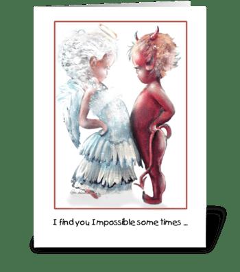 Angel VS. Devil, cute greeting card