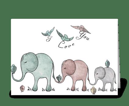 "Elephant ""I love you"" greeting card"