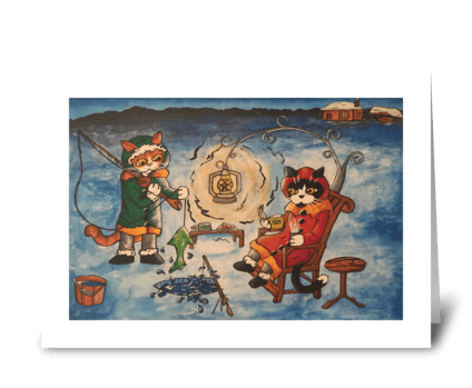 Christmas Ice Fishing at Night Cats greeting card
