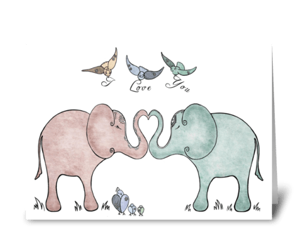 Elephant Love greeting card