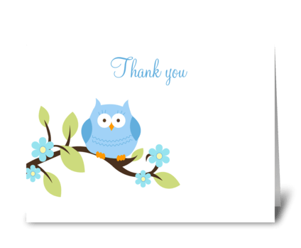 Sweet Blue Owl Thank you Card greeting card