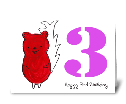 Squirrel Happy Third Birthday greeting card