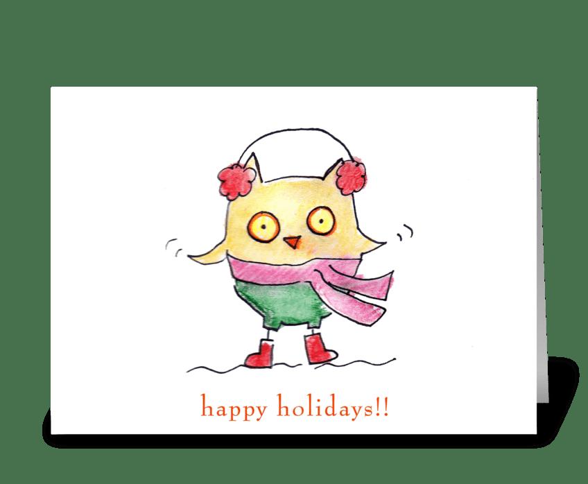 Owl Christmas greeting card
